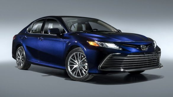 A small blue car