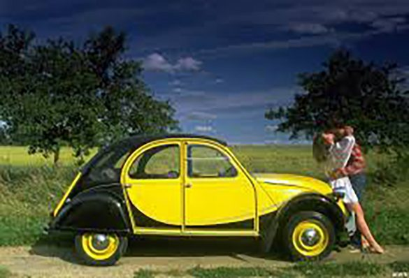 A car parked in a field